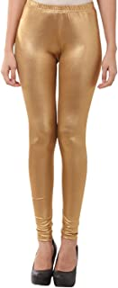DESIGNESTY Women's Shining Lycra Full Length Poly Cotton Churidar Leggings (Golden; Free Size(upto 34inches))