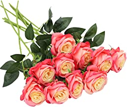 Nubry 10pcs Artificial Silk Rose Flower Bouquet Lifelike Fake Rose for Wedding Home Party Decoration Event Gift (Pink)
