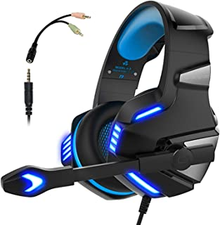 Micolindun Gaming Headset for Xbox One, PS4, PC, Over Ear Gaming Headphones with Noise Cancelling Mic LED Light, Stereo Ba...