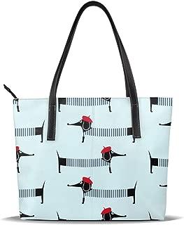 SIX WALL Parisian Dachshund Womens Leather Handbags Bag Waterproof Handbag Cross Body Satchel and Purses for Ladies Tote Handles,Vintage Tote Bag for Women Large Shoulder Purse Handbag