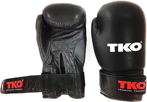 TKO Gants de Boxe en Cuir pour entraîneHommest Professionnel Noir 30,5 g