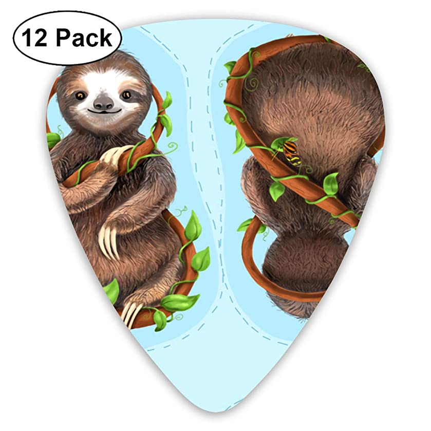Sloth Plush Pillow Bendy Ultra Thin 0.46 Med 0.73 Thick 0.96mm 4 Pieces Each Base Prime Plastic Jazz Mandolin Bass Ukelele Guitar Pick Plectrum Display