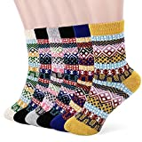 Tencoz Calcetines de Lana Mujer, 6 Pares Calcetines Termicos Mujer calcetines Invierno Grueso Vintage Antideslizante Calentar Acogedor Transpirable para Hombres y Mujeres, EU 34.5-39
