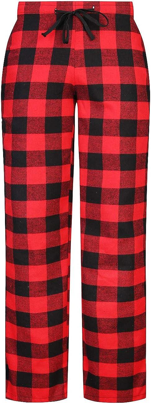 LEONAL Women's Flannel Pajamas Bottoms Buffalo Plaid Checked PJ Pants Lounge Night Sleepwear Pyjamas Trousers