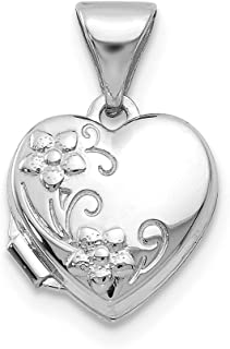 14k White Gold Heart Shaped Floral Photo Pendant Charm Locket Chain Necklace That Holds Pictures Fine Jewelry For Women Gifts For Her