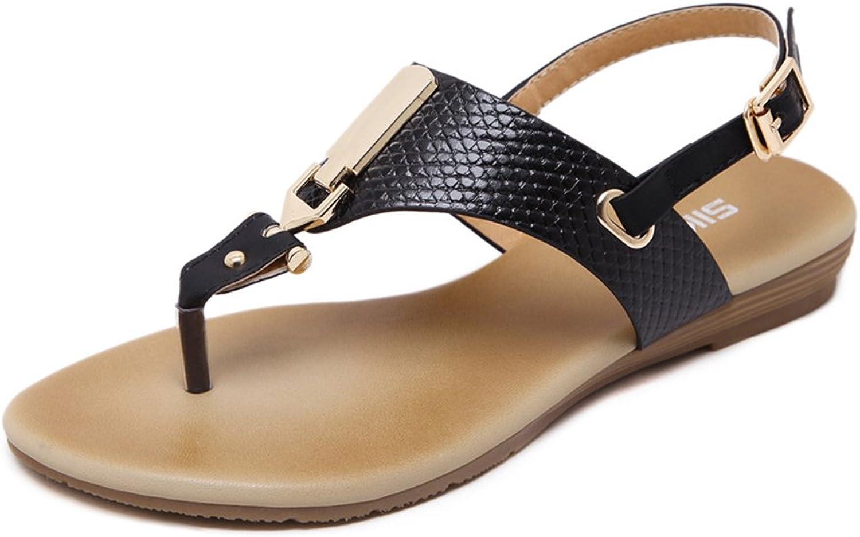 YUBUKE Women Summer Bohemia Flat Sandals Flower Beads Beach Flip-Flop shoes Girl's Summer Sandals Clip Toe Flat Sandals