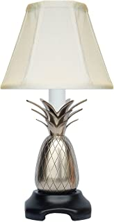 Table Lamps - Savannah Pineapple Accent LAMP - Pewter Finish - Off White Shade - 11