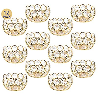 DUOBEIER 12pcs Gold Votive Candle Holders -Round Gold Crystal Tealight Candle Holder Bulk - Ideal for Wedding Centerpieces,Christmas Decoration & Home Decor