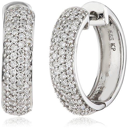 Diamonds by Ellen K. Damen Creolen 14 Karat 585 Gold weiß 130 Diamanten 0,50ct 317310004-1
