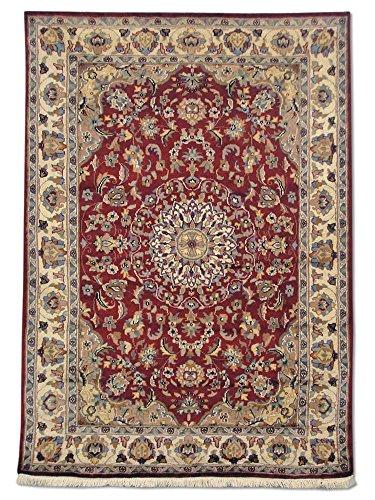 Pak Persian Rugs Handgemachte Kashan Teppich, Rot/weinrot, Wool/Art. Silk, Small, 123 X 172 cm