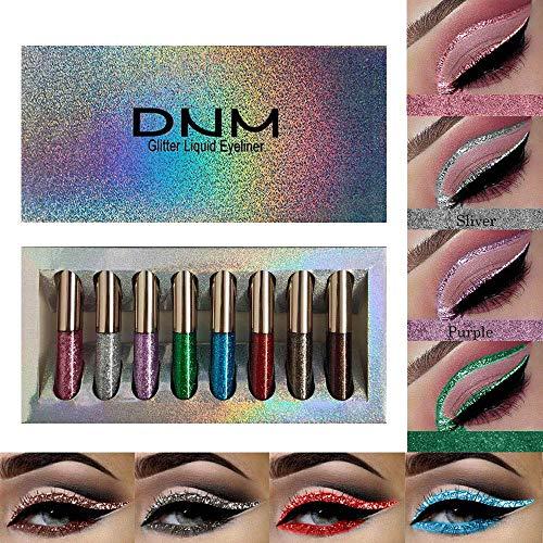 DNM Liquid Glitter Eyeliner Set,8 Colors Glitter Silver Liquid Eyeliner Long Lasting Waterproof, Shimmer Sparkling Blue Metallic Colorful Eyeliner Kit, High Pigmented Brighten Eye Liner(Set 03)