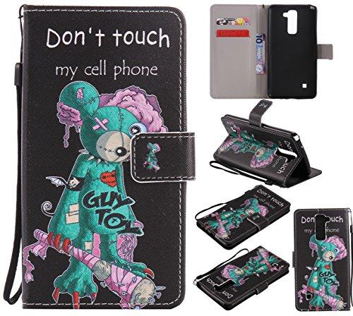 Nancen Compatible with LG G Stylo 2 / LG Stylus 2 / LG Stylus 2 Plus LS775 K520 (5,7 Zoll) Hülle/Handyhülle, Zwei Kartenfächer & Eine Brieftasche Etui [Don't Touch My Cell Phone]