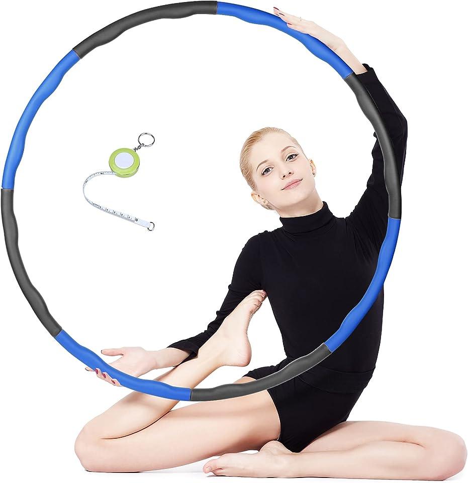 KUSTAR Hoola Hoop Reifen Erwachsene, Hula Hoop Reifen zur Gewichtsabnahme und Massage mit Mini Bandmaß, Verstellbar Fitnessreifen mit Schaumstoff für Fitness Training(48–88 cm)