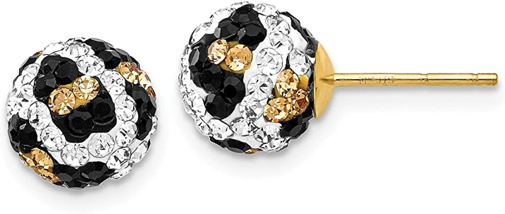 Solid 14k Gold Crystal Leopard White Black Yellow 8mm Post Earrings