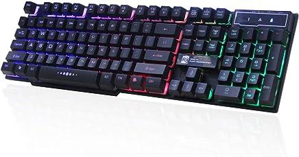 CIC Teclado Gamer semi mecânico Backlight Multimidia com led Chromatic rgb Anti-ghosting, Preto