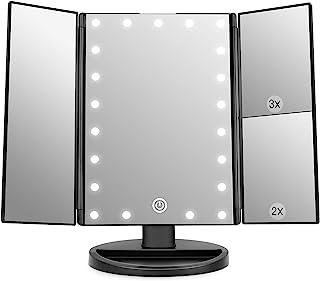 آینه غرور آرایشی WEILY با 21 چراغ LED ، آینه های لوازم آرایشی و بهداشتی LED بزرگ نمایی Trifold Dual Power (طلایی)