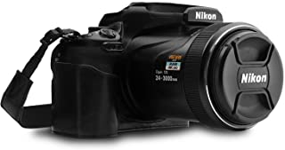 MegaGear MG1533 Nikon COOLPIX P1000 Ever Ready Leather Camera Half Case and Strap - Black, Compact