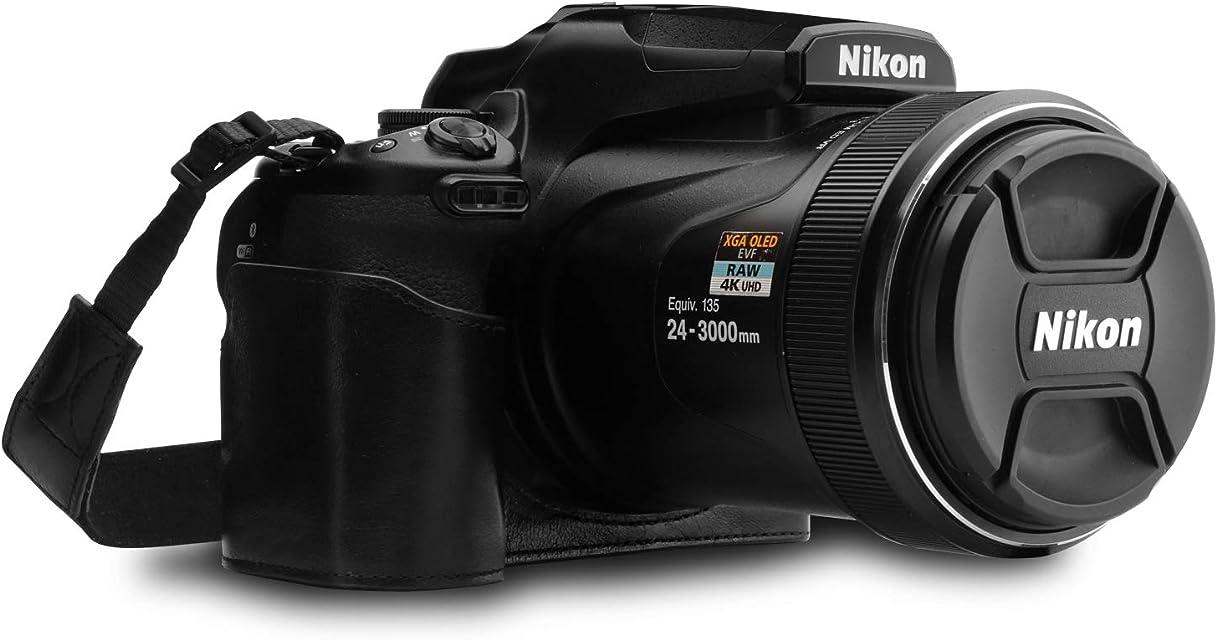 MegaGear Estuche Ever Ready Media Funda Estuche de Base Funda de Cuero de Pronto Uso con Correa Compatible con Nikon Coolpix P1000