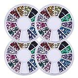 MKUHBG 2.0 Glitter Decorazione per Unghie Strass 3D Round Nail Art Strass Accessori per Decorazioni per Unghie Decorazioni per Nail Art Pietre preziose Colorate Colori Diversi Strass 4 Scatole