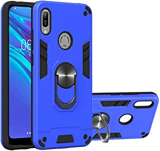 FlipBird Huawei Honor 8A ケース, 磁気車マウント保護頑丈な電話ケース用360回転リングホルダー ケース for Huawei Honor 8A Blue