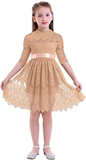 IBTOM CASTLE Flower Girl Princess Party Pageant Gown Floral Lace Tutu Dress for Kids Boho Rustic Vintage Skirt