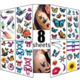 3D Temporary Tattoos for Women 8 Sheets Glitter Tattoos Flowers Butterfly Body Art Temporary Tattoos Waterproof Decal Sticker Sexy Fake Stickers Girls Chest Hand Shoulder or Back