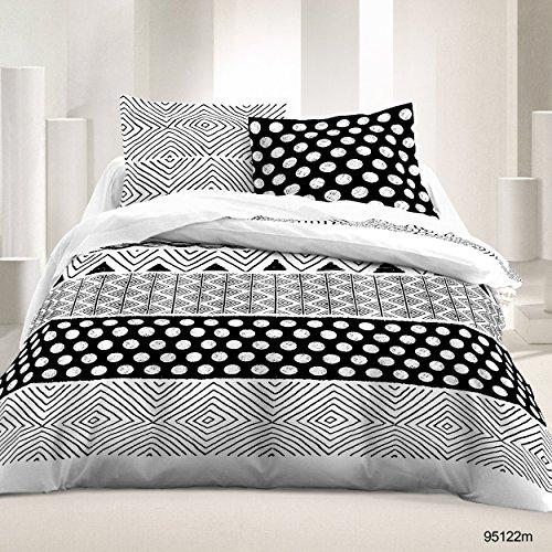 Atelier du Coton - Parure de lit 3 pièces 240X260cm imprimée 57fils Noir & Blanc 100% Coton