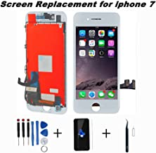 Saigain Screen Replacement for iPhone 7 Black 4.7 Inch LCD 3D Touch Screen Digitizer Display Replacement Including Repair Kit and Screen Protector (White)