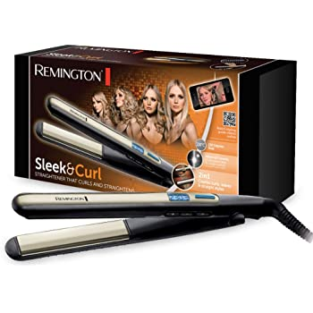Remington Sleek & Curl Piastra per Capelli, Nero/Beige