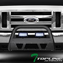 Topline Autopart Matte Black Studded Mesh Bull Bar Brush Push Front Bumper Grill Grille Guard With Skid Plate + 36W CREE LED Fog Lights For 08-14 Ford Econoline E150 / E250 / E350 Superduty Van