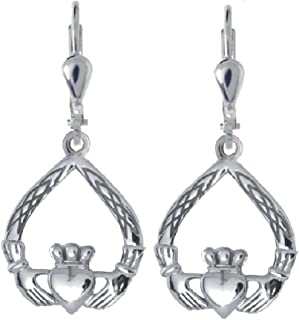 Claddagh Earrings Sterling Silver Celtic Weave Made in Ireland