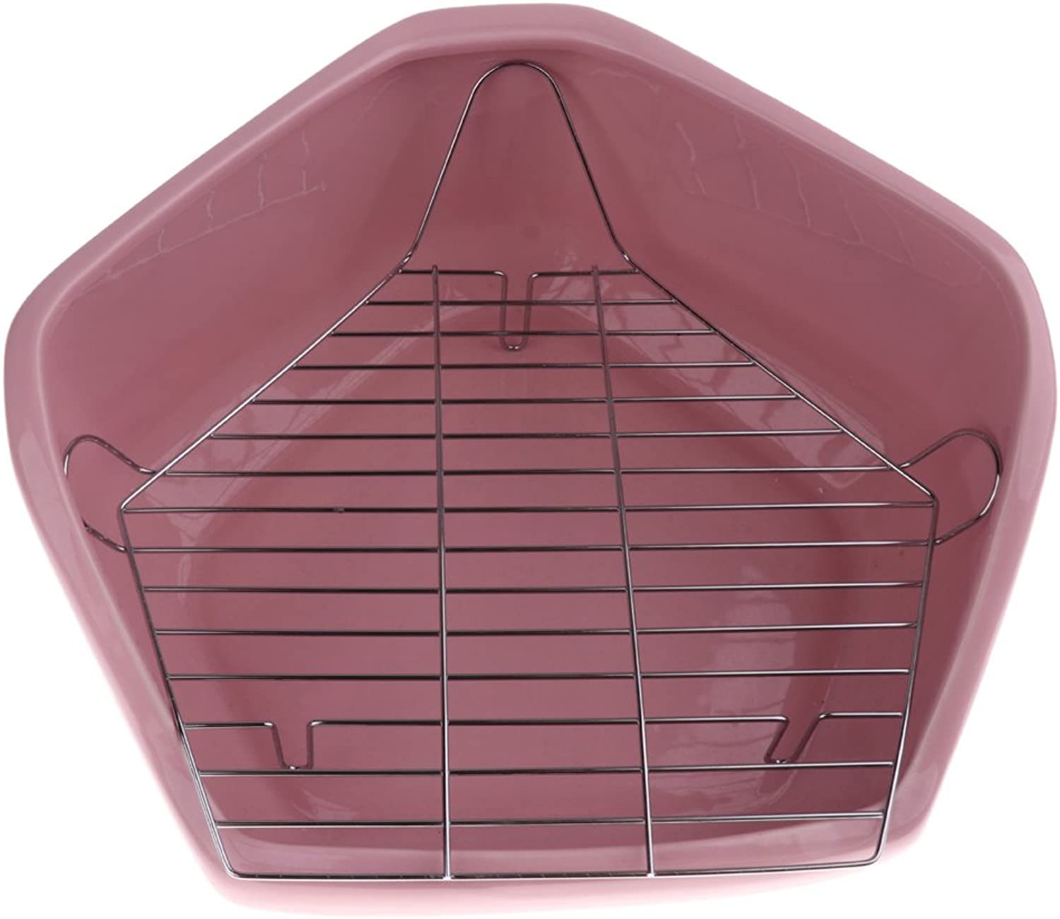 Baoblaze Ceramic Hamster Mouse Gerbille Cage Pet Toy Toilet Cage Corner Toilet Two Layers  Pink