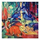 Bilderwelten Alu-Dibond - Kunstdruck Franz Marc - Rehe im Walde II - Expressionismus Quadrat 1:1, Aluminium Print Wandbild Alu-Bild Wall Art, Größe HxB: 30cm x 30cm
