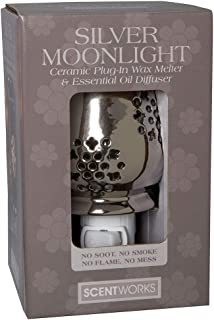 """Scentworks Silver Moonlight Ceramic Plug-In Wax Melter & Essential Oil Diffuser, Easy-Clean, 3"""" Round x 5.25"""" H"""