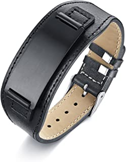 Personalized Men's Leather Bracelet Black Brown Men's Bracelets with Stainless Steel Plate Custom Name Bracelet for Him