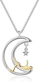 Jingran Two-Tone Cute Cat on the Moon And Star Pendant Necklace for Women Gift Girl