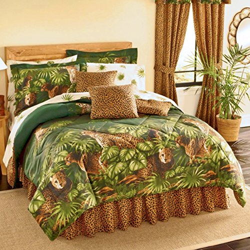 "Safari CHEETAH LEOPARD CATS Comforter & Sheet Set With Palm Leaf Foliage (8pc Queen Size(86""x86"") Bed In A Bag Set)"