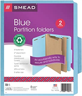"Smead 100% Recycled Pressboard Classification File Folder, 2 Dividers, 2"" Expansion, Letter Size, Blue, 5 per Pack (14056)"