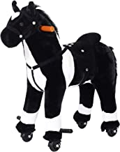 Qaba Kids Plush Ride On Toy Walking Horse with Wheels and Realistic Sounds, 30