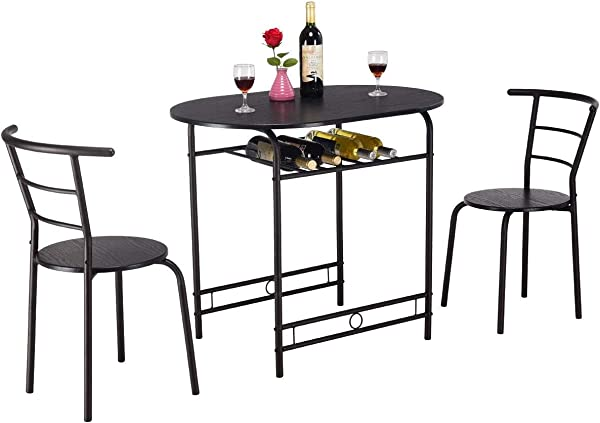 KOVALENTHOR 3 Piece Dining Set Table And 2 Chairs Bistro Pub Set With Metal Frame And Shelf Storage Dining Room Furniture Restaurant Table Chair Sets Black