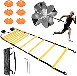 KizmetKare Soccer Speed Training Agility Ladder Set with 6 Cones, Resistance Parachute, and 4 Hooks. Improve Speed, Strength, and Coordination, Kit for Football, Basketball, Rugby, Track Field Drill