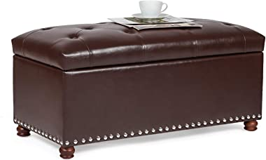 """Furnistar 35.4"""" Rectangular Tufted Faux-Leather Storage Ottoman Bench with Lift-Top,Coffee"""
