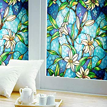 Window Film Privacy Ablave Stained Glass Window Film Static Cling Non-Adhesive Decorative Window Film Window Decals for Home UV Blocking Privacy 17.7  x 78.8