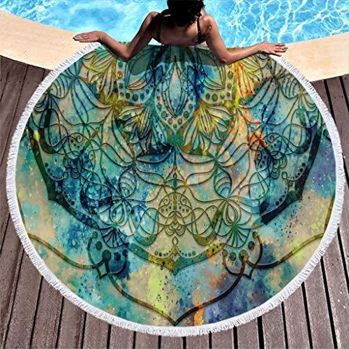 Go Go Grifendoor Toalla de playa redonda de secado rápido, para activación de la playa, color blanco, 150 cm