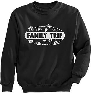家族旅行男の子女の子に 楽しい家族旅行シャツボーイガール キュートボーイガール家族旅行シャツ 愉快な家族旅行シャツ ボーイガール キッズスウェットシャツ