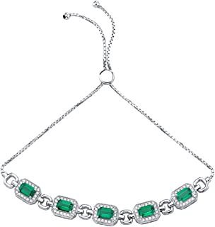 Sterling Silver Emerald-Cut Adjustable Friendship Bracelet in Various Gemstones