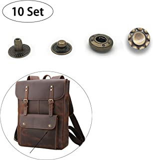 "10 Sets Vintage Antique Sew-on Snap Buttons Metal Snap Fastener Buttons Press Button for Sewing, Craft, Purses, Bags, Clothes, Leather DIY,16mm / 0.6"" (Antique Brass)"