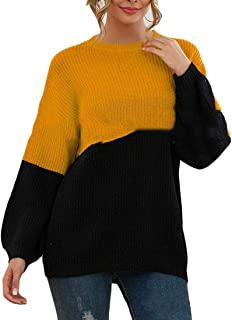 Women's O Neck Color Block Lightweight Sweater Long Sleeve Pullover Jumper