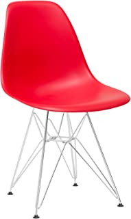 Poly and Bark Modern Mid-Century Dining Padget Side Chair for Dining room, Living room, Kitchen and Patio, Red