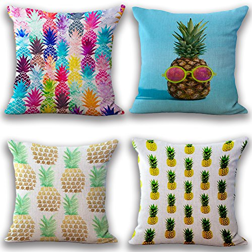 JOTOM Soft Throw Pillow Case Cover Sofa Car Cushion Cover Home Bed Decor 45 x 45cm, Set of 4 (Pineapple)